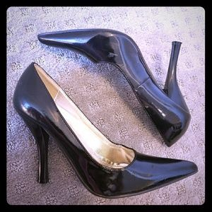 Pointed Stiletto Heels Professional Black Gloss